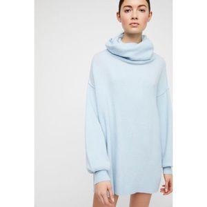 Free People Blue KEEP A SECRET Cashmere Tunic